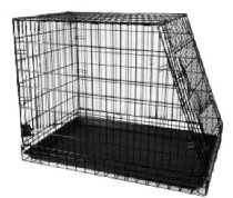 "General Cage Premium Folding 200 Series Pet Crate w metal pan, Slant Front, 24"" W x 35"" D x 27.25"" H, Gold Finish"