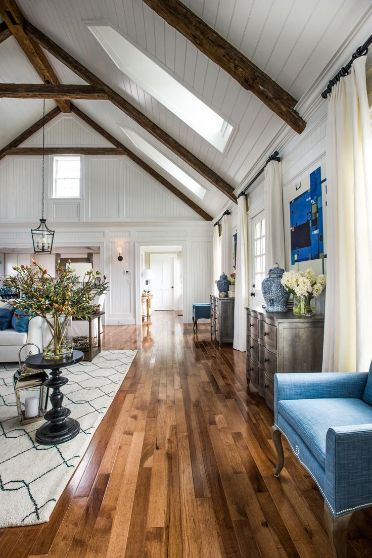 HGTV Dream Home 2015: Artistic View | HGTV Dream Home | HGTV Family Room Living Room Hardwood Floors Blue and Off White