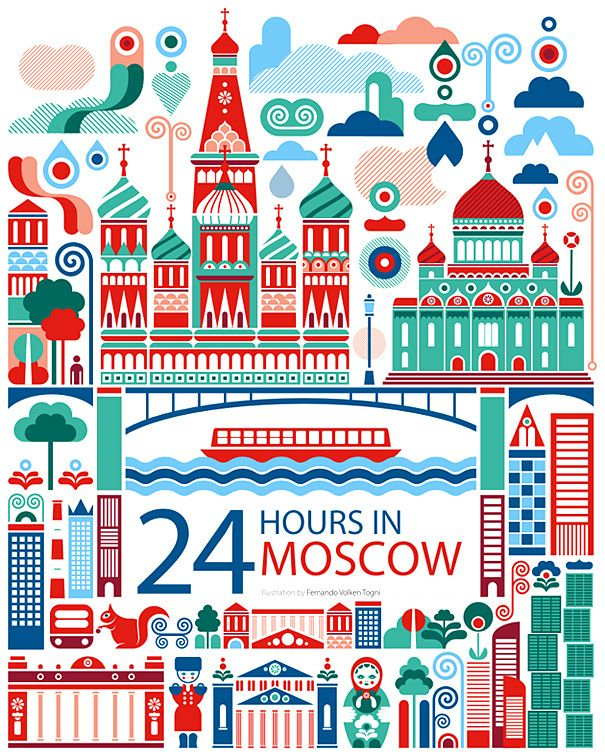 24 hours in Moscow, Russia Illustration design for the Oryx Magazine for Qatar Airways #illustration