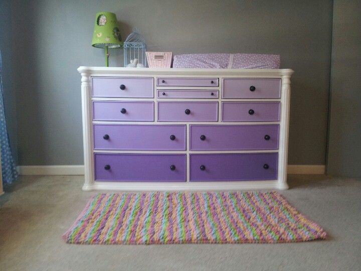 Purple ombre  dresser/changing table- looks like using a dresser as a changing table is the way to go, and I love the gradient look.