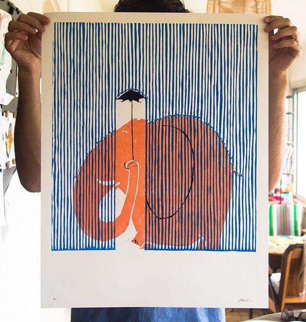 Guillaume Plantevin Éléphant (gravure)Affiche en gravure format 50 × 65 cm. 2 couleurs gravure sur bois + noir au pochoir.