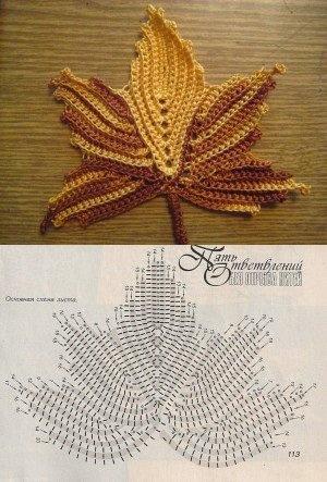 Crochet leaf chart