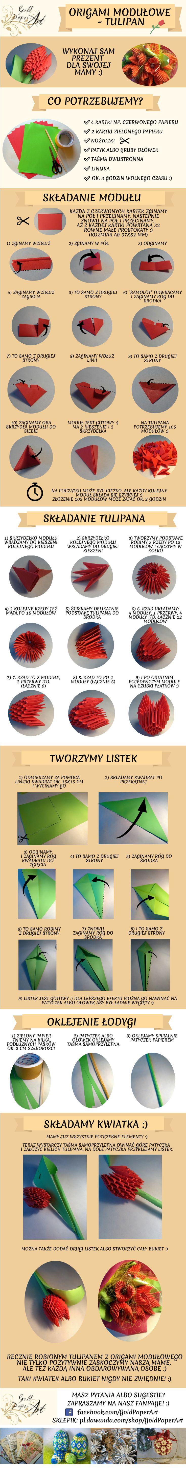#dzieńmatki #dzienmatki #prezent #origami #modułowe #kwiat #tulipan #diy #zróbtosam #tutorial #rękodzieło