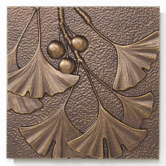 Ginkgo Tile - Antique Copper -  Indoor-Outdoor Cast Aluminum Wall Art - 8 inch X 8 inch