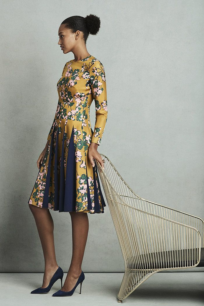 b7c2fe7c66e2 Hepburn Dress Tuscany Gold Floral Silk Twill - The Fold   thefoldlondon.com