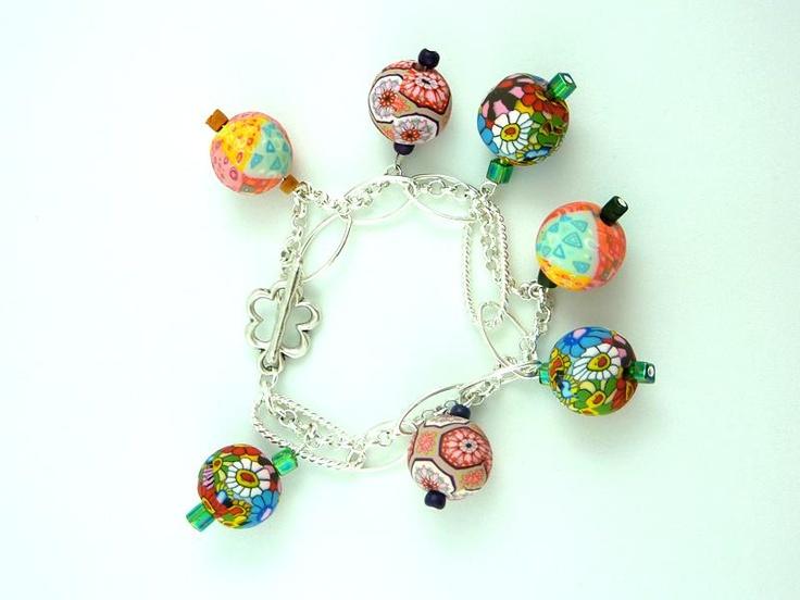 Pulsera de bolas de colores pintadas a mano | Nina Pamplina - Joyas originales para todas las ocasiones
