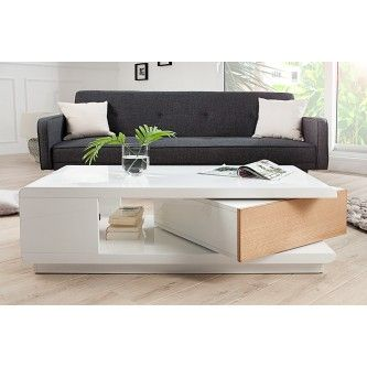 Table basse design Taylor blanc/bois laqué