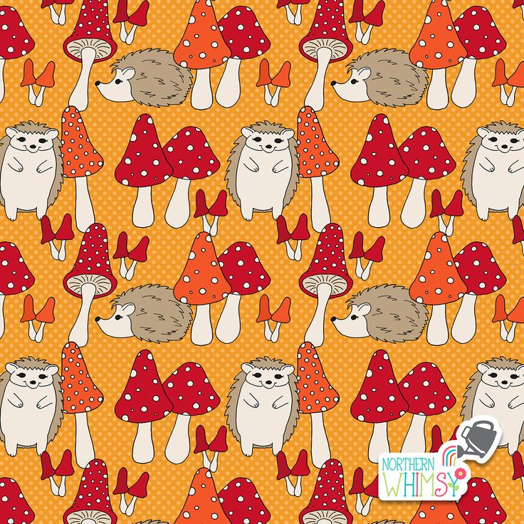 A closer look at one of the super-fun patterns from Northern Whimsy's Hedgehogs and Mushrooms fall pattern collection - contact us to discuss licensing!