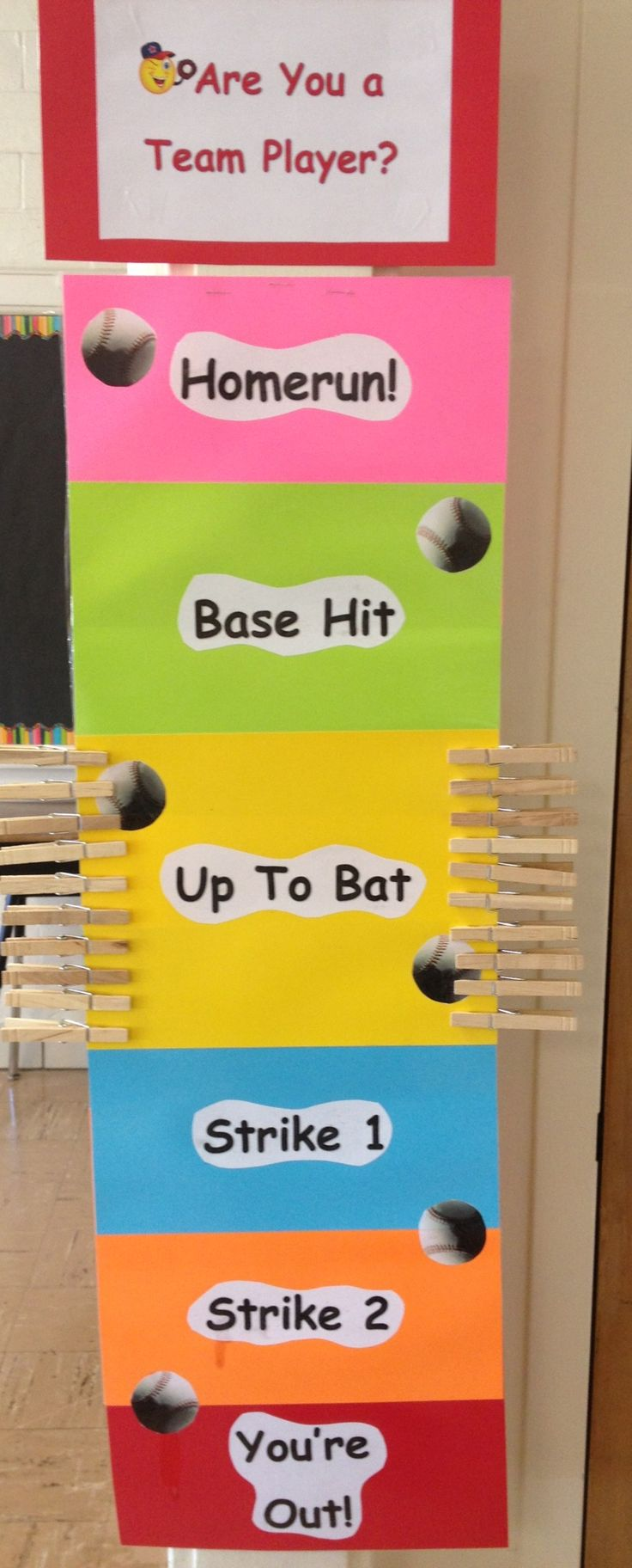 Baseball Sports Theme Behavior Management Chart