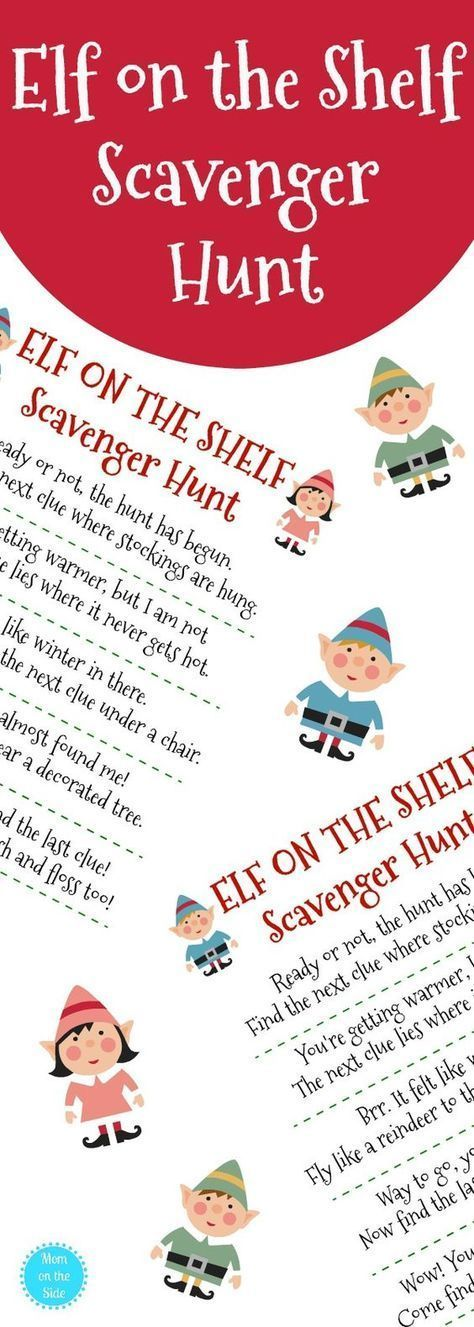 Need elf on the shelf ideas? Grab this free printable Elf on the Shelf Scavenger Hunt for Christmas the kids will love! #elfontheshelf #elfontheshelfideas #christmas #scavengerhunt #christmastime