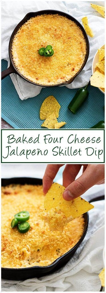 Our baked four cheese jalapeno skillet dip uses four distinct kinds of cheese and spicy peppers to create a rich and luscious dip perfect for any occasion. via /berlyskitchen/