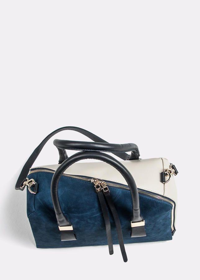 59.802 Нубук синий, кожа светло-бежевая, кожа темно-синяя | Женская обувь