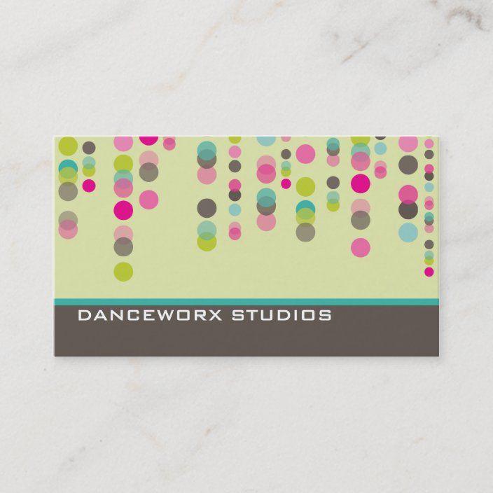 Business Card Trendy Disco Spots Green Pink Aqua Zazzle Com Cheap Business Cards Business Cards Aqua