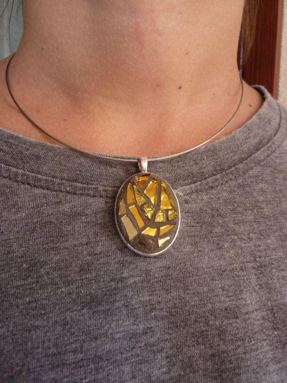 oval mosaic pendant gold di MOSAICANDARTS su Etsy