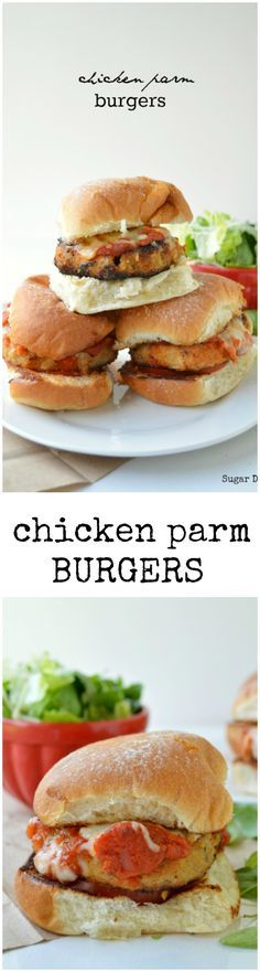 An amazing chicken burger recipe! These Chicken Parm Burgers are made with fresh basil and oregano, coated in seasoned breadcrumbs, and topped with marinara sauce and melted mozzarella cheese. Fresh herbs really make these chicken burgers stand out from the rest!