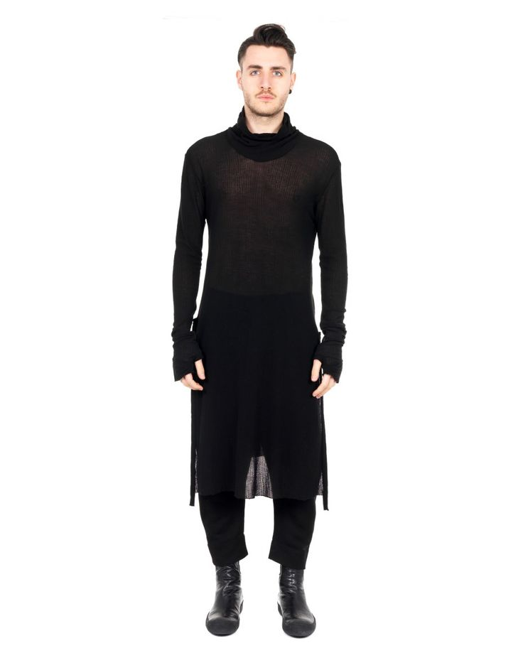 LOST&FOUND MAN Black oversized sweater turtleneck long sleeves with cuffs two side splits transparent look 100% CO