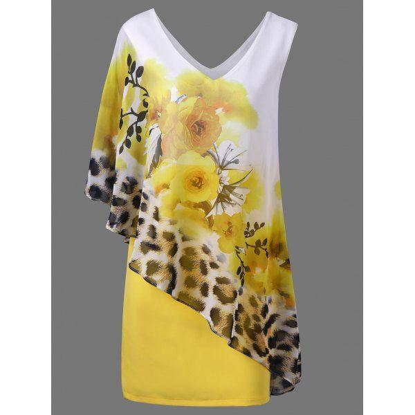 $23.89 V Neck Floral and Leopard Capelet Dress - Jaune