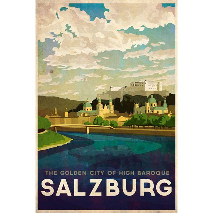 Missy Ames Vintage Travel Poster - Salzburg, Austria