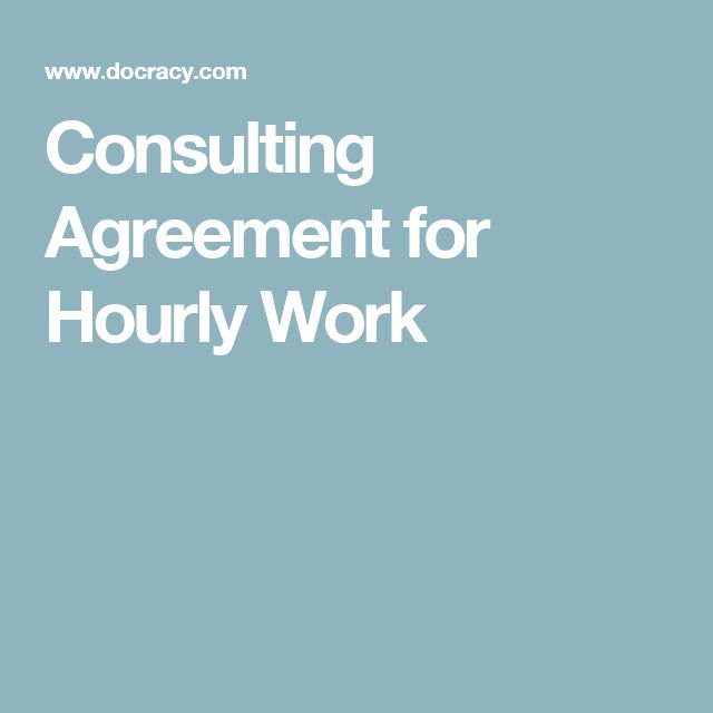 Consulting Agreement for Hourly Work Business Resources Pinterest - consulting agreement