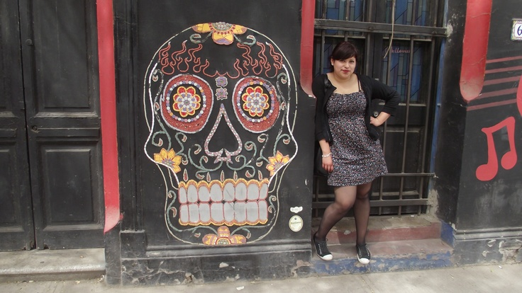 santiago,chile  sugar skull wall,red,black and strong