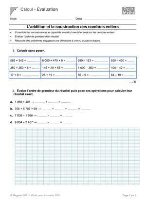 Evaluation maths : addition, soustraction mardi 16 octobre