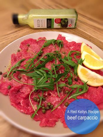 The flavours of this Beef Carpaccio dish are as diverse as the colours of its ingredients! We suggest that Red Kellys Tasmania's Traditional dressing works best but please let us know if your cooking experience suggests otherwise! Get cooking!  Click on the image to view the recipe.