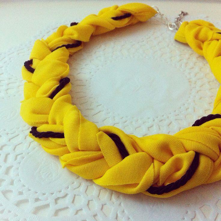 Yellow braided handmade statement necklace - Details by Szabo Ildiko