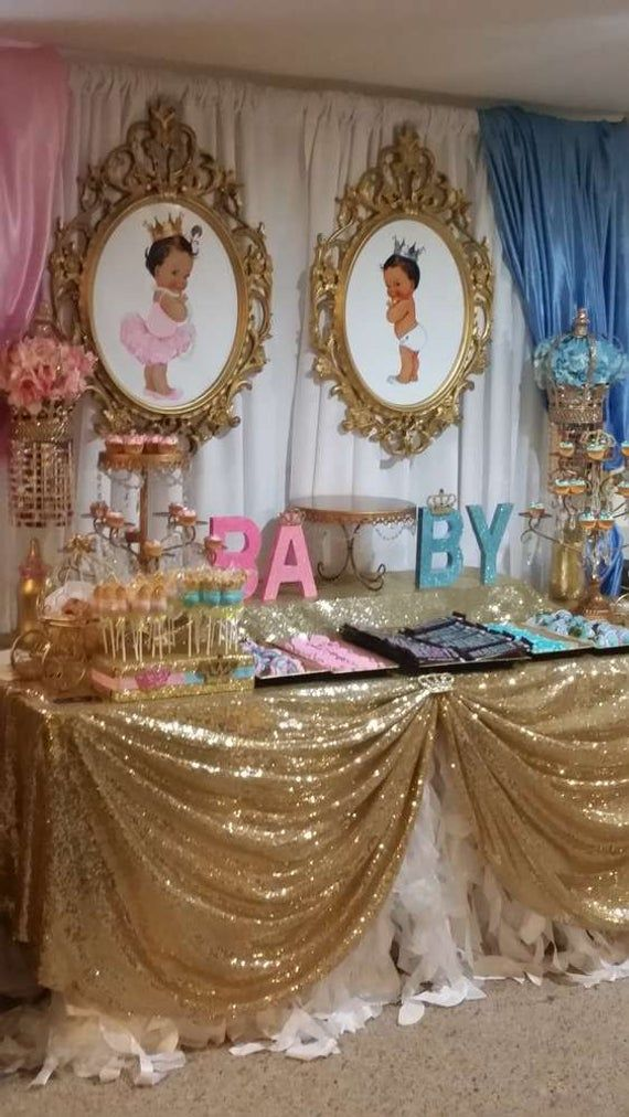 Prince Or Princess Gender Reveal Prints African American Etsy In 2021 Cute Baby Shower Ideas Baby Gender Reveal Party Twins Baby Shower