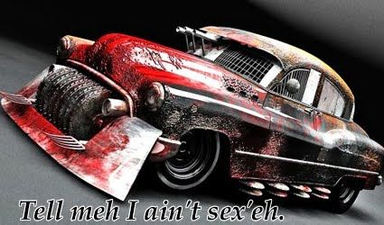 Best Cars For Surviving the ZombieApocalypse... I like this early 50's Buick with bandsaw blades for grill.