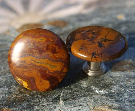 Brown Jasper Cabachon Cabinet Knobs Or Drawer By KnuckleheadKnobs