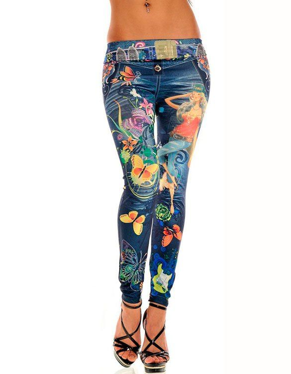 Illustrated Cartoon Jeans-Look Blue Leggings