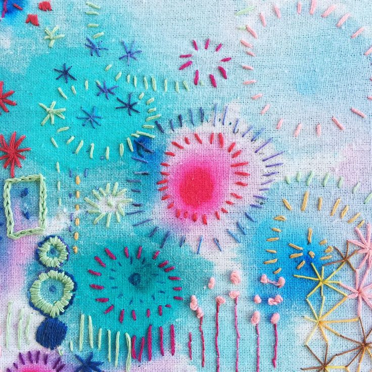 Saffrons Blog – Saffron Craig  Doodling and hand embroidering colourful stitches, over some of my hand painted linen, adding another dimensional layer.