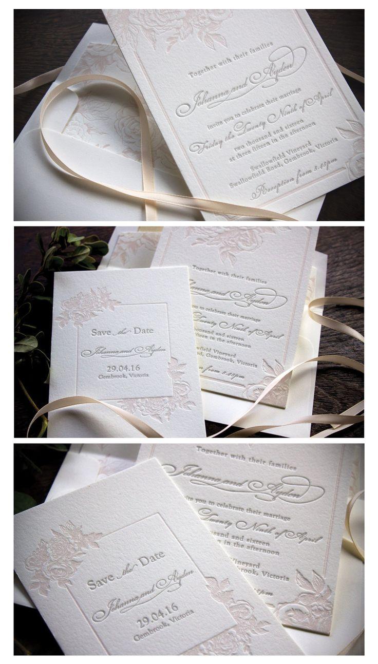 Letterpress Floral invitation suite rose. Pink and grey wedding invitation, Australia. http://www.martindalepress.com.au/swallowfield/