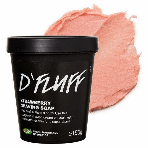 LUSH D'Fluff Shaving Soap   When you've had enough of the rough stuff, there's D'Fluff! This fluffy, sweet shaving soap will have you dreaming of Strawberry Fluff