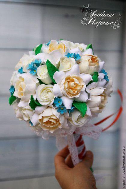 Свадебные цветы ручной работы. Ярмарка Мастеров - ручная работа. Купить Круглый букет невесты с гардениями и…