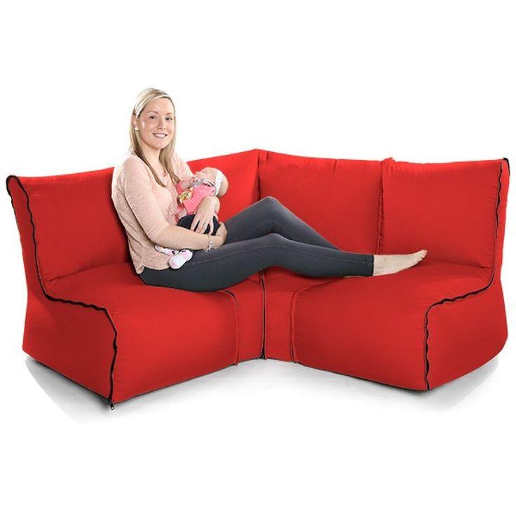 Comfy Zip2© Modular Chair Red Bean Bag 4 Piece