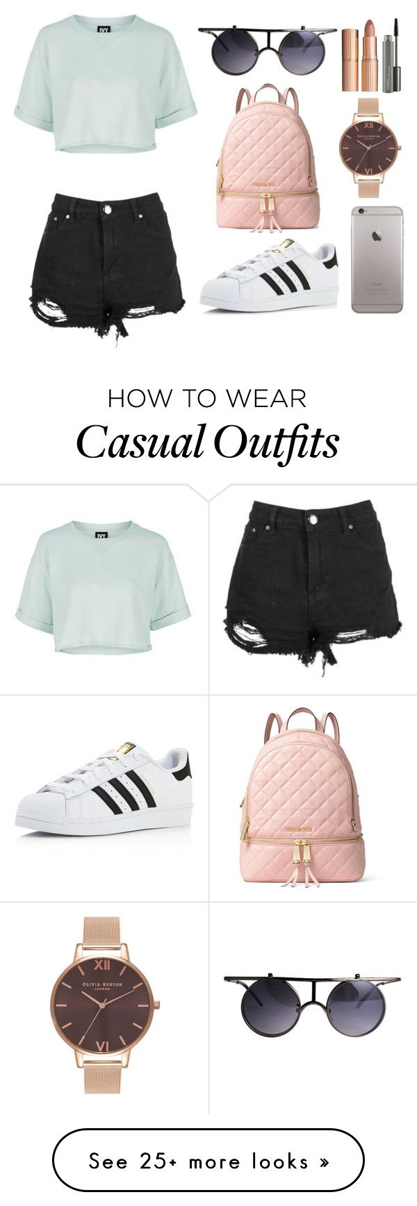 """Casual chick"" by hannahkrinis on Polyvore featuring Topshop, Boohoo, adidas, MICHAEL Michael Kors, Olivia Burton, Charlotte Tilbury and MAC Cosmetics"