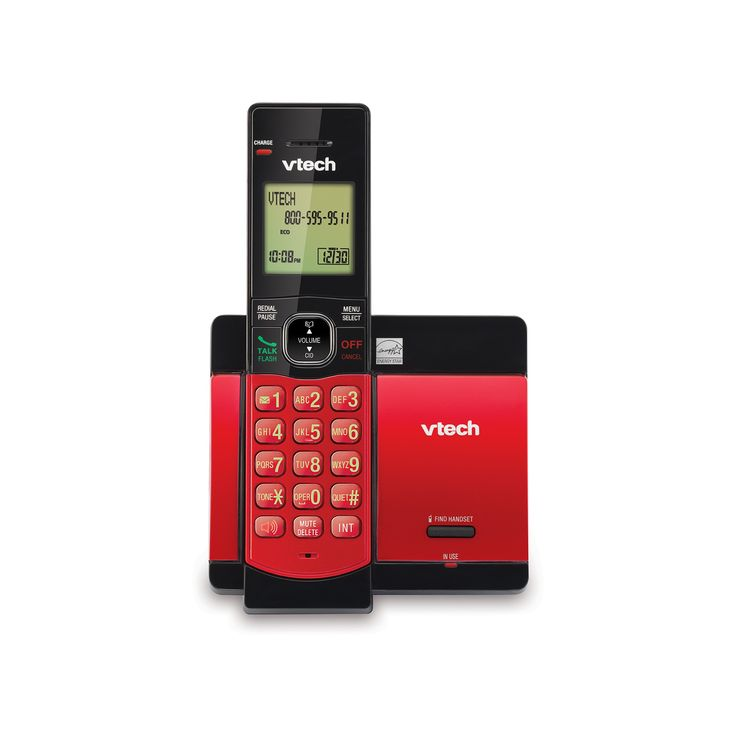 VTech Dect 6.0 Expandable Cordless Phone (CS5119-16) with Caller ID and Call Waiting, 1 Handset - Red