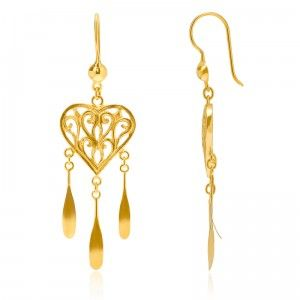 Heart Charm Asian Earrings - MettaGems | Natural Gemstone Jewelry, Direct from manufacturers  18K Solid Gold