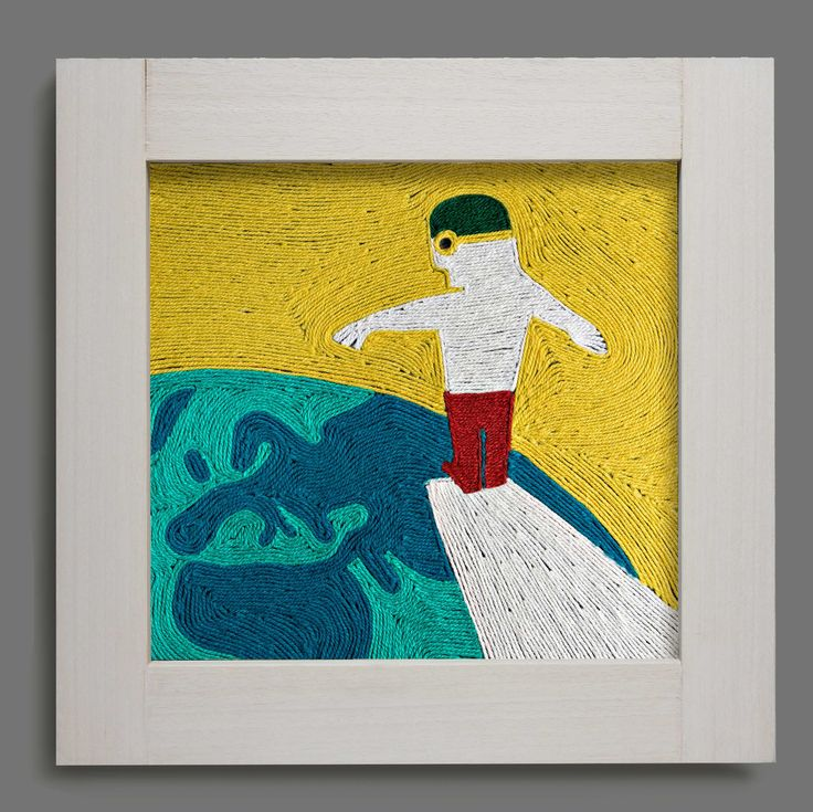 Dive. Wool painting. Decorative panel made by wool glued on canvas. For sale. Marcella Peluffo artist