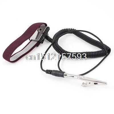 Electronic Alligator Clip Black 55cm Coil Cable Antistatic Wrist Strap