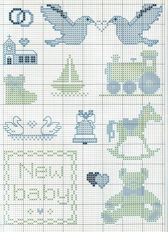 Cross stitch for baby cards