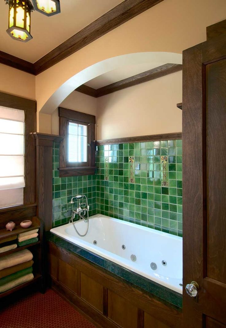 in a revival bathroom designed by sala architects the tiled tub niche recalls 1920s designs - Bathroom Tile Ideas Craftsman Style