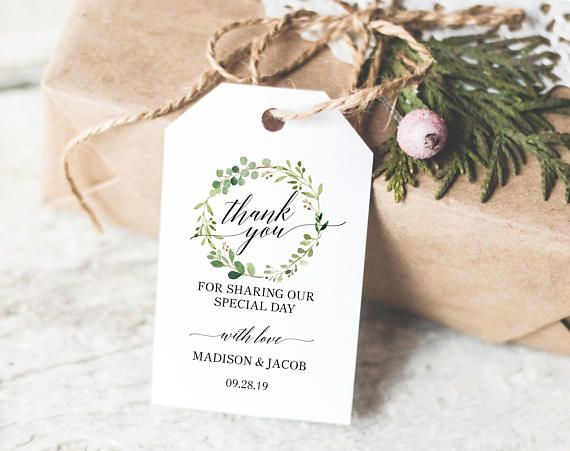 greenery wedding thank you tag template wedding favor tags