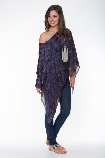 Boho Silk Collection – Copper & Blue Poncho Ladli Australia  Hand block printed pure silk poncho.