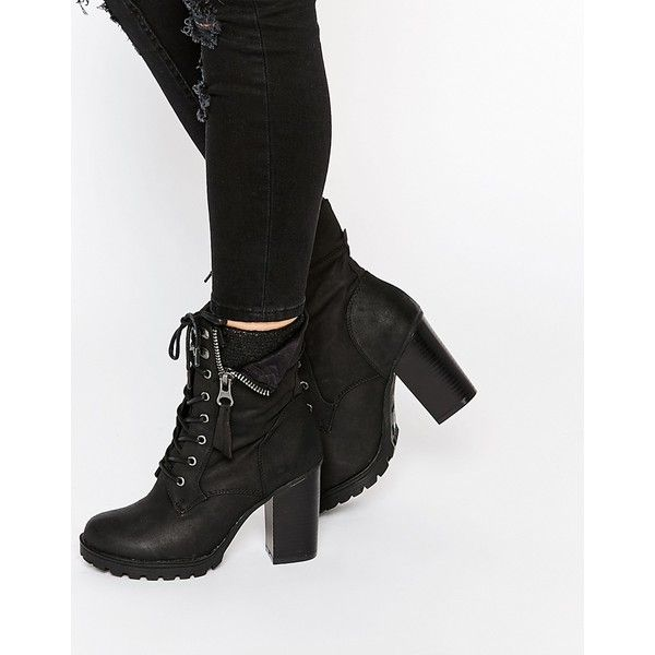 Call It Spring Yunia Black Grunge Sole Heeled Boots (1,760 MXN) ❤ liked on Polyvore featuring shoes, boots, black, thick heel boots, suede boots, high heel boots, black boots and lace up heel boots