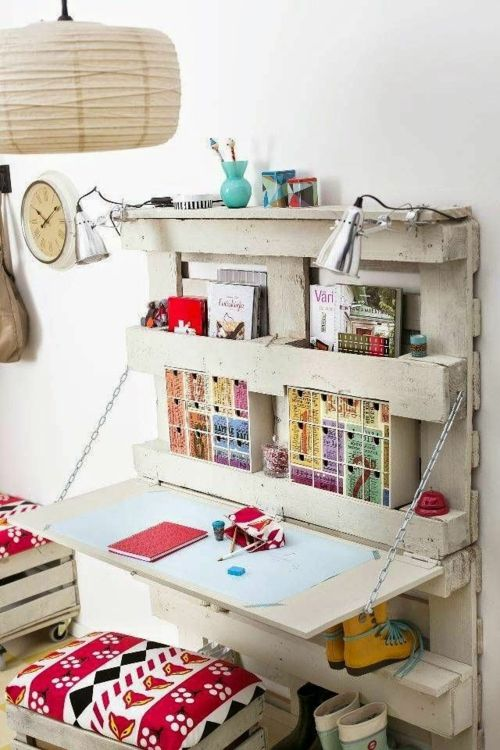 schreibtisch selber bauen diy büro kinderzimmer holzpalette