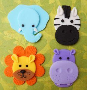12 ANIMALES DE LA SELVA. Toppers de Cupcake Fondant comestible - elefante, hipopótamo, cebra y León
