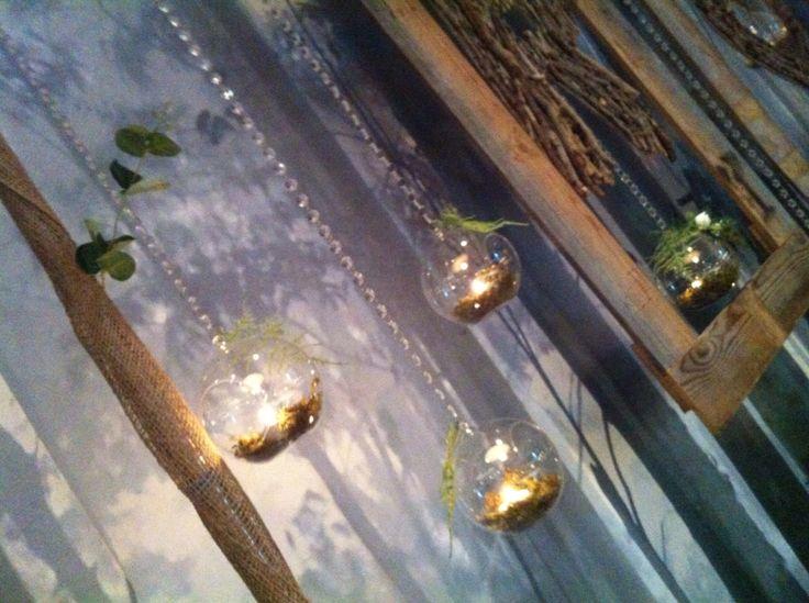WOODLAND WEDDING RAINFOREST THEME HANGING CEREMONY DECORATIONS. O'Reillys Rainforest RetreatWedding arbour, shepherd hooks, aisle decorations, lanterns