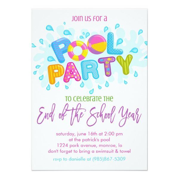 Summer Pool Party End Of The School Year Party Invitation